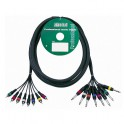 Adam Hall - Multicore Cable 8 x RCA male to 8 x 6.3 mm Jack mono - 3 m