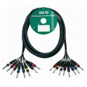 Adam Hall - Multicore Cable 8 x 6.3 mm Jack mono to 8 x 6.3 mm Jack mono - 5 m