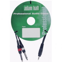 Adam Hall - Twin Instrument Cable 1 x 3.5 mm Jack stereo to 6.3 mm Jack mono 1 m