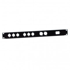 Adam Hall - U-shaped Rack Panel 1 U for 6 XLR male 2 XLR female and 1 IECC Euro Power Socket