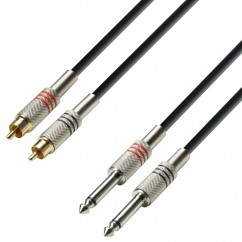 Adam Hall - K3TPC0300 - Audio Cable 2 x RCA male to 2 x 6.3 mm Jack mono - 3.00 m