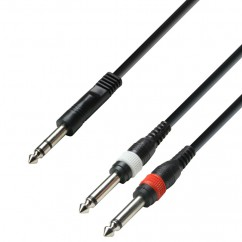 Adam Hall - K3YVPP0300 - Audio Cable 6.3 mm Jack stereo to 2 x 6.3 mm Jack mono - 3.00 m