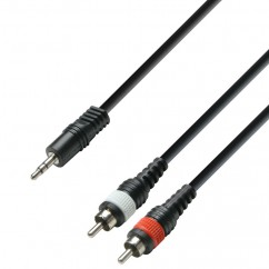 Adam Hall - K3YWCC0100 - Audio Cable 3.5 mm Jack stereo to 2 x RCA male - 1.00 m