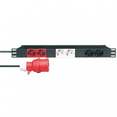 "Adam Hall - 19"" Mains Power Strip 6 Sockets, 3 Circuits"