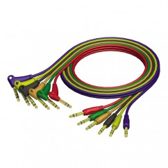Adam Hall - REF790090 - Patch Cable Set 6.3 mm Jack stereo to 6.3 mm angled Jack stereo - 0.90 m