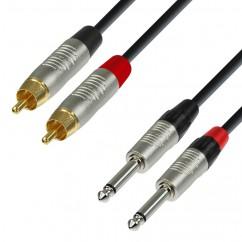 Adam Hall - K4TPC0150 - Audio Cable REAN 2 x RCA male to 2 x 6.3 mm Jack mono - 1.50 m